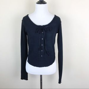 We The Free Black Ribbed Long Sleeve Top Blouse M
